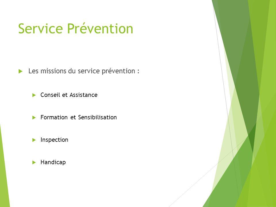 Service Prévention Les missions du service prévention : Conseil et Assistance Formation et Sensibilisation Inspection Handicap