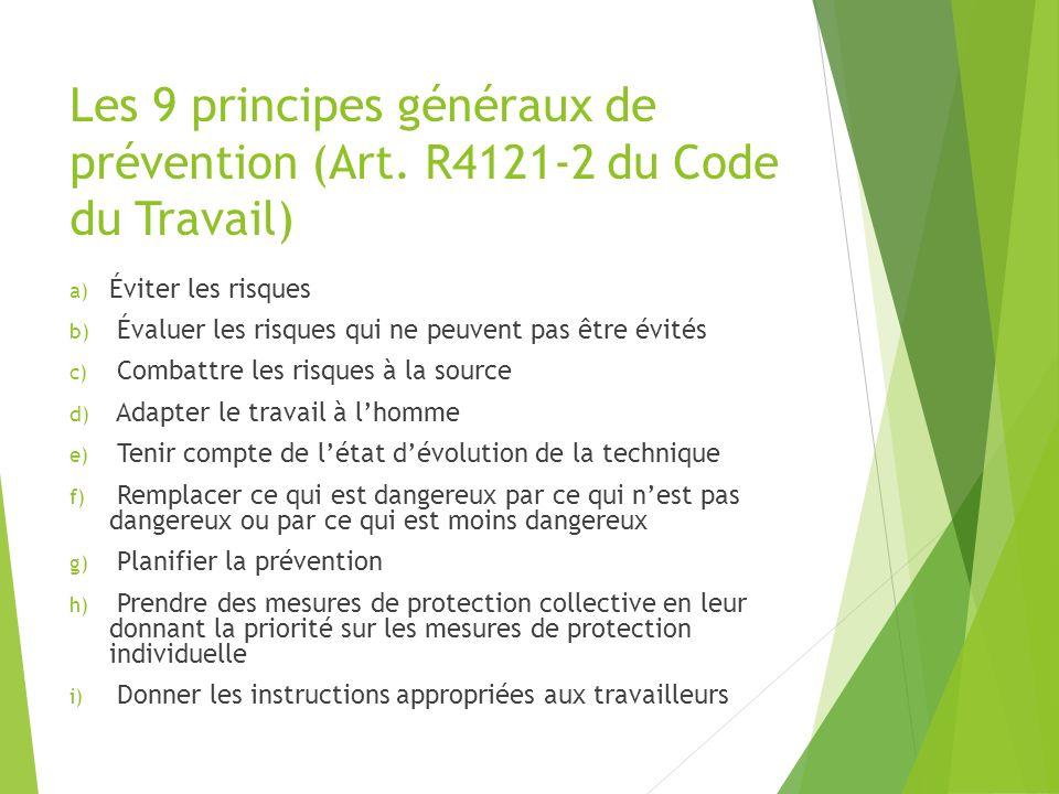 Les 9 principes généraux de prévention (Art. R4121-2 du Code du Travail) a) Éviter les risques b) Évaluer les risques qui ne peuvent pas être évités c