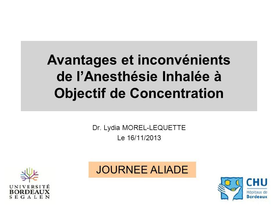 Avantages et inconvénients de lAnesthésie Inhalée à Objectif de Concentration Dr.