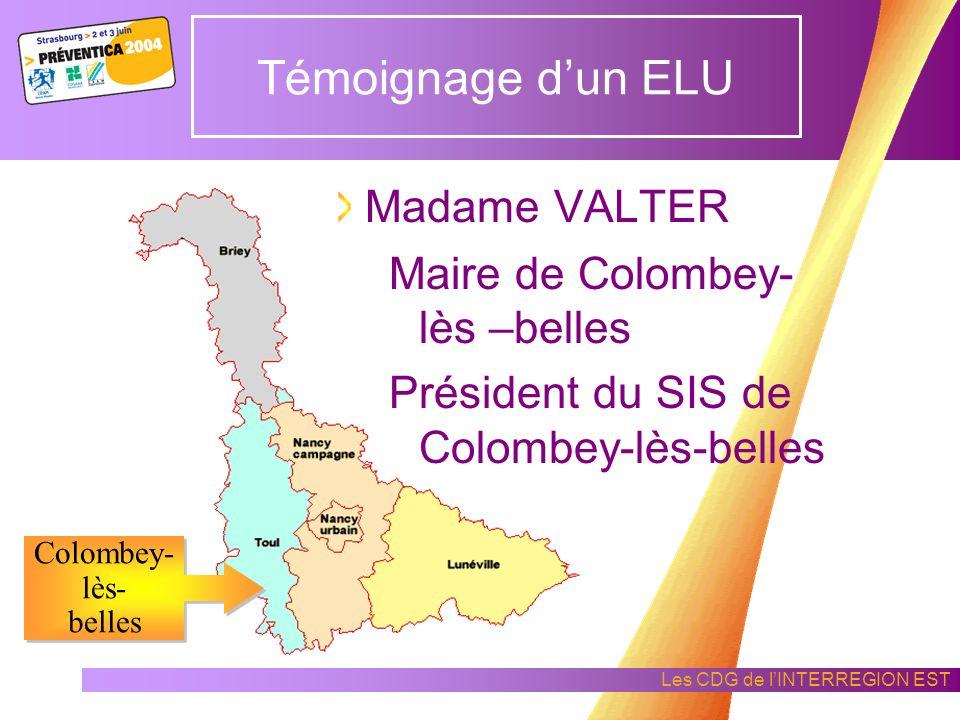 Les CDG de lINTERREGION EST Témoignage dun ELU Jacqueline VALTER Elu dune collectivité de Meurthe-et-Moselle COLOMBEY - LES - BELLES (54)
