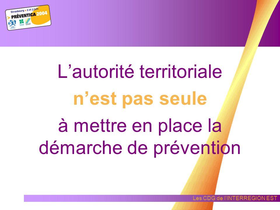 Les CDG de lINTERREGION EST Les étapes de la démarche de prévention a - Planifier : b - Faire :c - Contrôler : d - Réagir : Définir les objectifs, les