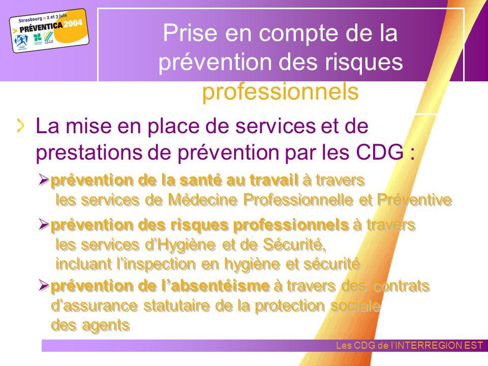 Les CDG de lINTERREGION EST Prise en compte de la prévention des risques professionnels à lexamen des grandes orientations à définir pour laccomplissement des tâches de ladministration concernée aux problèmes dhygiène et de sécurité.