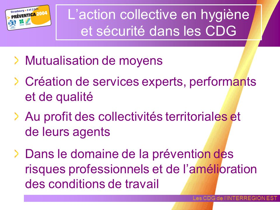 Les CDG de lINTERREGION EST Prise en compte de la prévention des risques professionnels La mise en place de services et de prestations de prévention p