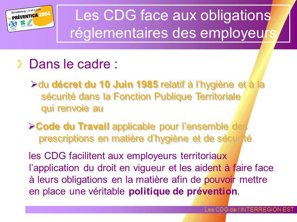 Les CDG de lINTERREGION EST Laction collective en hygiène et sécurité dans les CDG Mutualisation de moyens Création de services experts, performants e