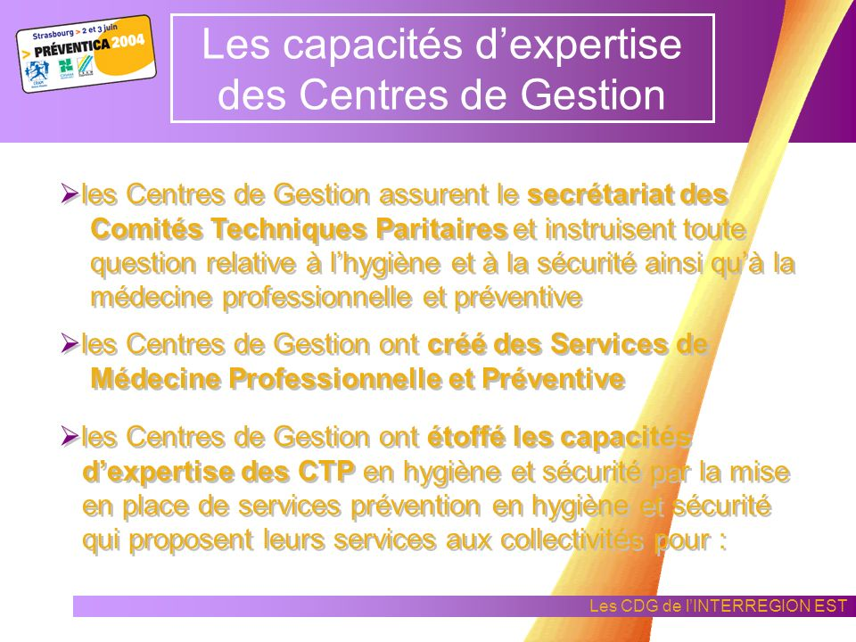 Les CDG de lINTERREGION EST Les CDG face aux obligations réglementaires des employeurs Dans le cadre : du décret du 10 Juin 1985 relatif à lhygiène et