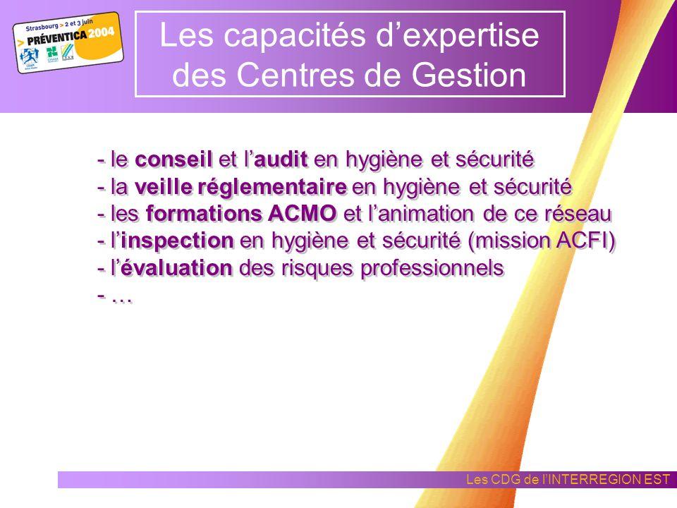 Les CDG de lINTERREGION EST Les capacités dexpertise des Centres de Gestion les Centres de Gestion assurent le secrétariat des Comités Techniques Pari
