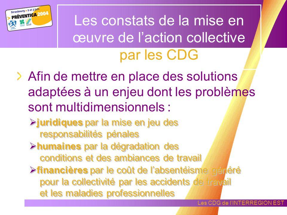 Les CDG de lINTERREGION EST Les constats de la mise en œuvre de laction collective par les CDG La culture territoriale en hygiène et sécurité est une