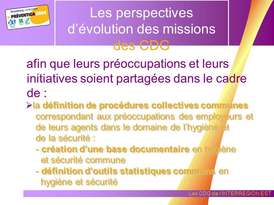 Les CDG de lINTERREGION EST Les perspectives dévolution des missions des CDG En hygiène et sécurité, les Centres de Gestion doivent développer des par