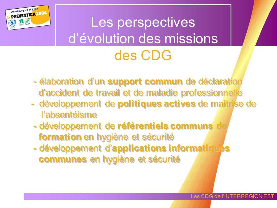 Les CDG de lINTERREGION EST Les perspectives dévolution des missions des CDG afin que leurs préoccupations et leurs initiatives soient partagées dans