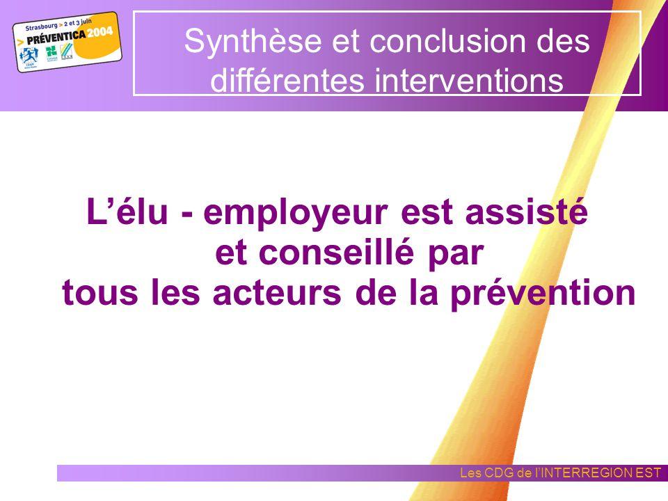 Les CDG de lINTERREGION EST Synthèse et conclusion des différentes interventions Lélu - employeur instaure la démarche de prévention de la collectivit