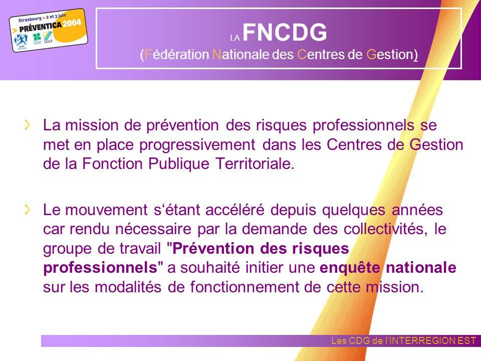 Les CDG de lINTERREGION EST Présentation de la FNCDG (Fédération Nationale des Centres de Gestion) Monsieur Daniel LEROY Président de la commission « Prévention des Risques Professionnels »