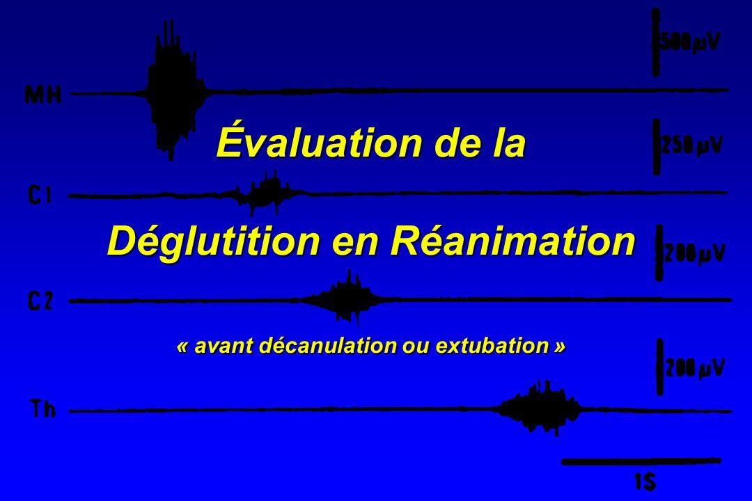 Déglutition réflexe Physiologie Couplage temporel respiration/déglutition Stimulations respiratoires et déglutition réflexeStimulations respiratoires et déglutition réflexe HypercapnieHypercapnie Couplage temporal altéré Couplage temporal altéré HypoxieHypoxie EtCO2 Defense reflex Incidence Nishino, AJRCCM, 1998 Pa02 Déglutition/min Nishino, BJA, 1996