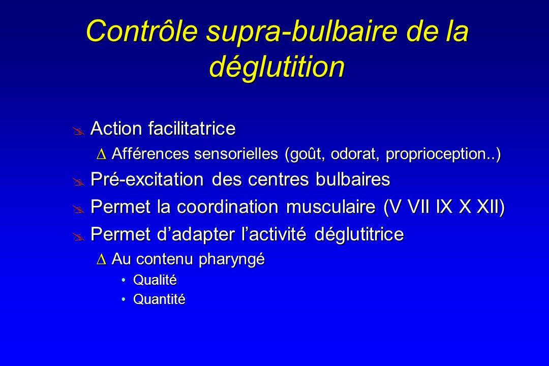 Contrôle supra-bulbaire de la déglutition Action facilitatrice Action facilitatrice Afférences sensorielles (goût, odorat, proprioception..)Afférences