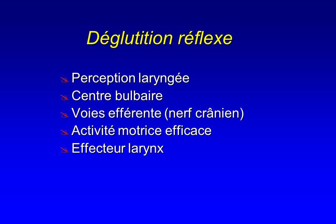 Déglutition réflexe Perception laryngée Perception laryngée Centre bulbaire Centre bulbaire Voies efférente (nerf crânien) Voies efférente (nerf crâni
