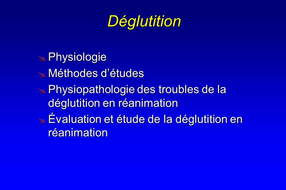 Vidéo-manométrie 5 variables pharyngées de la déglutition 5 variables pharyngées de la déglutition Manométrie Vidéo (5 x 10 ml Iodine)Vidéo (5 x 10 ml Iodine) 1-Caractéristiques de la contraction des constricteurs du pharynx et du SSE Pression (peak: mmHg) / pente (mmHg/s) Pression (peak: mmHg) / pente (mmHg/s) 2-Tonus du SSE (mmHg) Protection (régurgitation,orientation bol, périlstatisme) Protection (régurgitation,orientation bol, périlstatisme) 3-Coordination musculaire (s) 4-Temps de transit (s) 5-Résultante qualitative de la séquence motrice « Misdirected swallowing = aspiration episode » « Misdirected swallowing = aspiration episode »