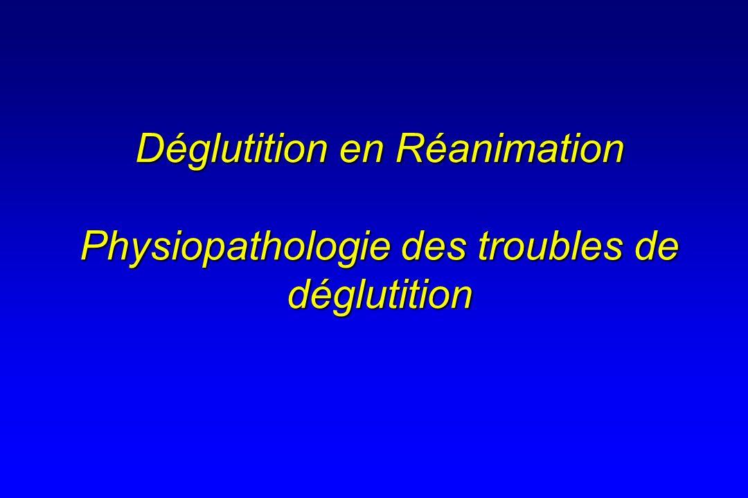 Déglutition en Réanimation Physiopathologie des troubles de déglutition
