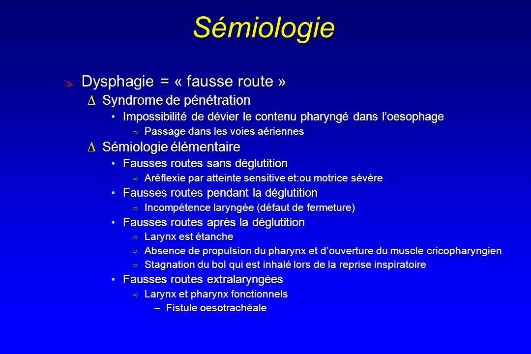 Sémiologie Dysphagie = « fausse route » Dysphagie = « fausse route » Syndrome de pénétrationSyndrome de pénétration Impossibilité de dévier le contenu