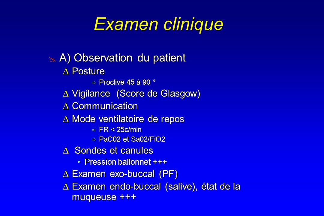 Examen clinique A) Observation du patient A) Observation du patient PosturePosture Proclive 45 à 90 ° Proclive 45 à 90 ° Vigilance (Score de Glasgow)V