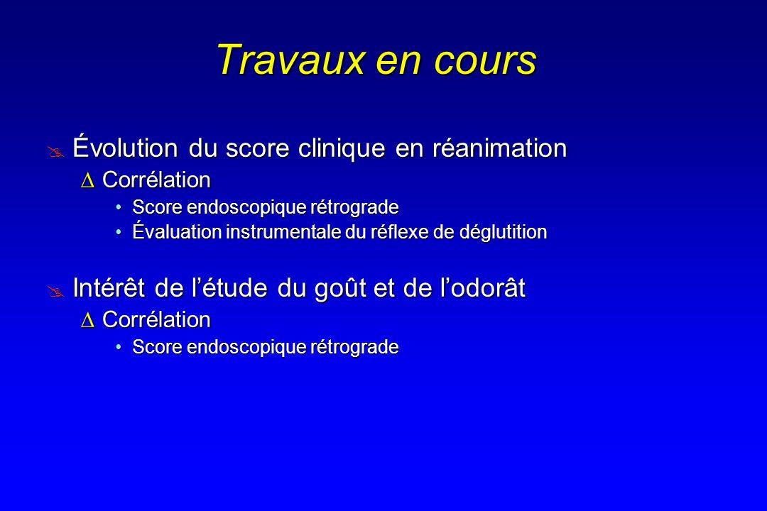 Travaux en cours Évolution du score clinique en réanimation Évolution du score clinique en réanimation CorrélationCorrélation Score endoscopique rétro