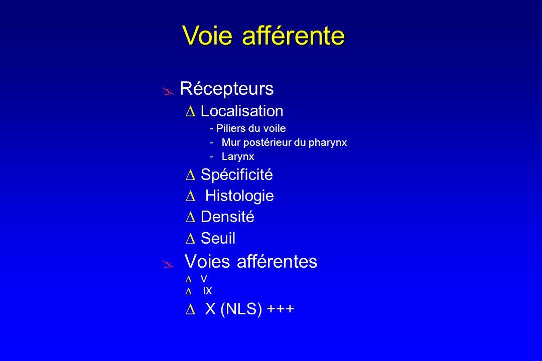 Récepteurs Spécificité Mécanorécepteurs : pharynx Osmorécepteurs : larynx Thermo/Flow/Stretch...