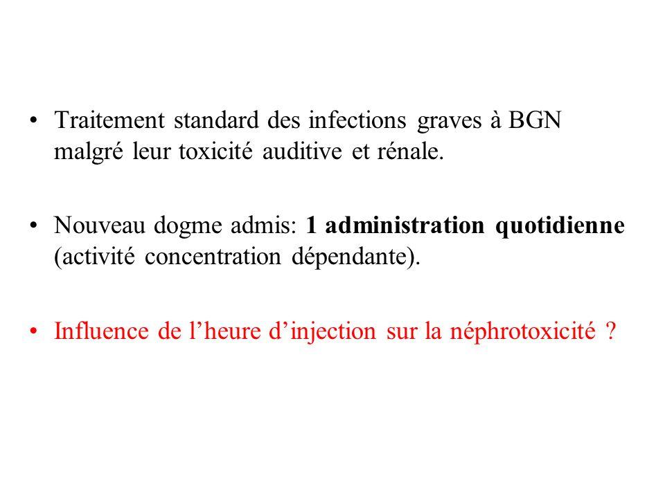 Traitement standard des infections graves à BGN malgré leur toxicité auditive et rénale. Nouveau dogme admis: 1 administration quotidienne (activité c