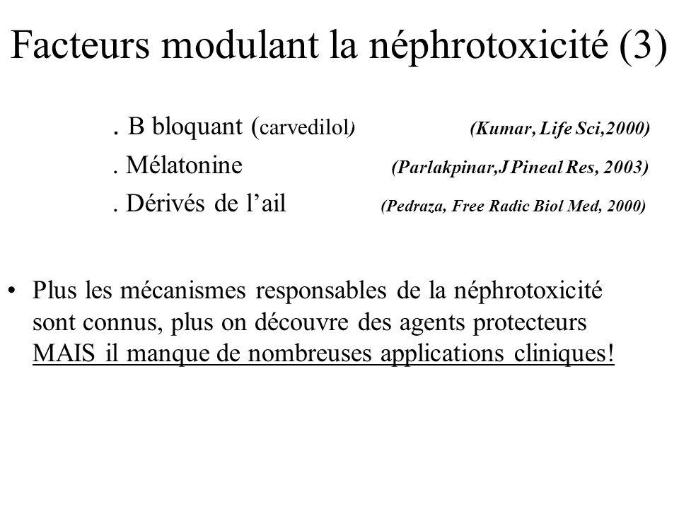 Facteurs modulant la néphrotoxicité (3). Β bloquant ( carvedilol ) (Kumar, Life Sci,2000). Mélatonine (Parlakpinar,J Pineal Res, 2003). Dérivés de lai