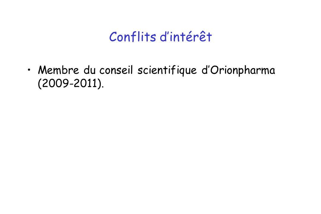 Conflits dintérêt Membre du conseil scientifique dOrionpharma (2009-2011).