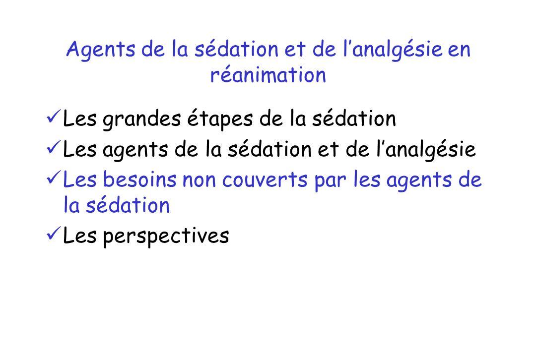 Agents de la sédation et de lanalgésie en réanimation Les grandes étapes de la sédation Les agents de la sédation et de lanalgésie Les besoins non cou
