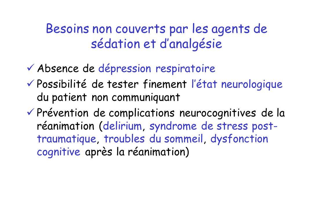 Besoins non couverts par les agents de sédation et danalgésie Absence de dépression respiratoire Possibilité de tester finement létat neurologique du