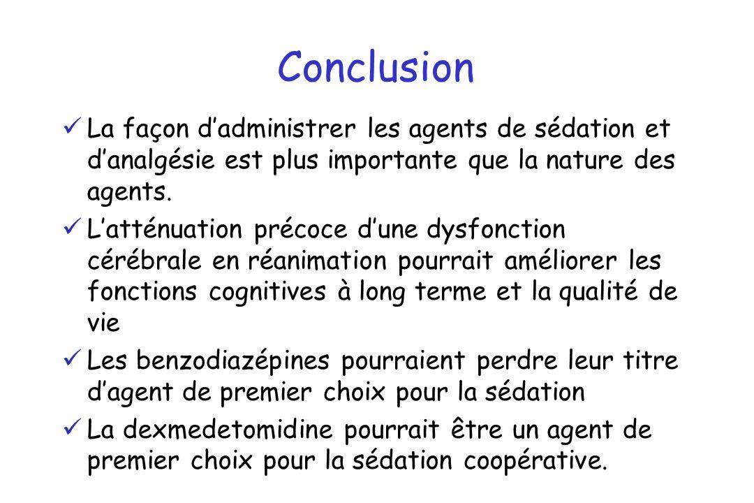 Conclusion La façon dadministrer les agents de sédation et danalgésie est plus importante que la nature des agents. Latténuation précoce dune dysfonct