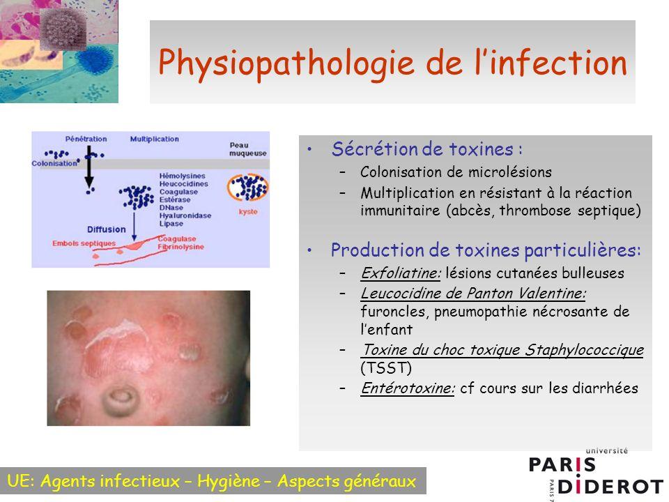 UE: Agents infectieux – Hygiène – Aspects généraux Physiopathologie de linfection Sécrétion de toxines : –Colonisation de microlésions –Multiplication