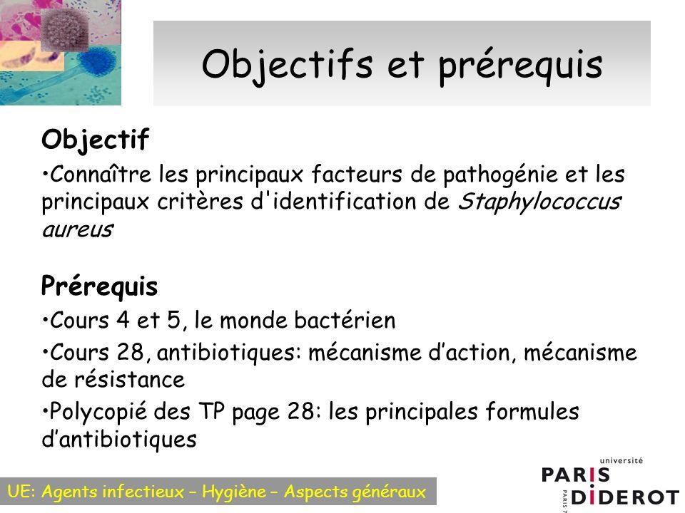 UE: Agents infectieux – Hygiène – Aspects généraux Objectifs et prérequis Objectif Connaître les principaux facteurs de pathogénie et les principaux c
