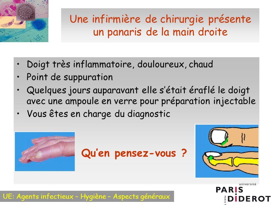 UE: Agents infectieux – Hygiène – Aspects généraux Une infirmière de chirurgie présente un panaris de la main droite Doigt très inflammatoire, doulour