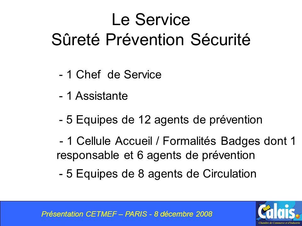 Présentation CETMEF – PARIS - 8 décembre 2008 Le Service Sûreté Prévention Sécurité - 1 Chef de Service - 1 Cellule Accueil / Formalités Badges dont 1 responsable et 6 agents de prévention - 5 Equipes de 12 agents de prévention - 1 Assistante - 5 Equipes de 8 agents de Circulation
