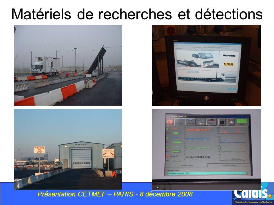 Matériels de recherches et détections Présentation CETMEF – PARIS - 8 décembre 2008
