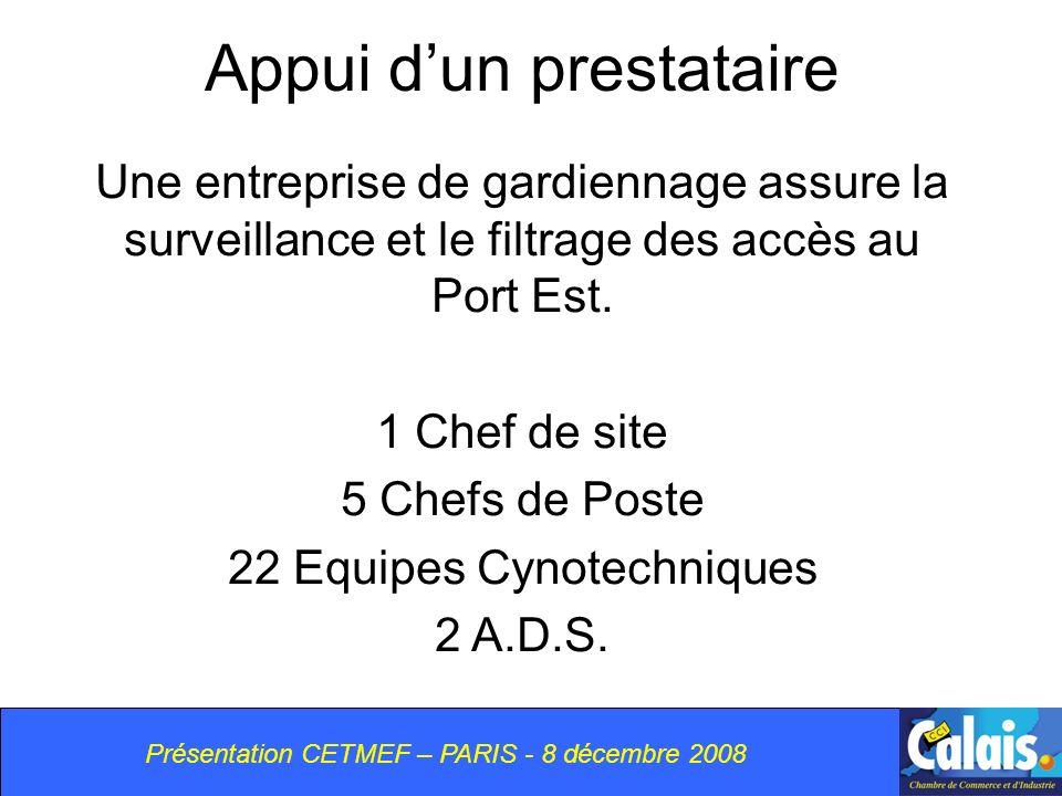 Appui dun prestataire Une entreprise de gardiennage assure la surveillance et le filtrage des accès au Port Est.