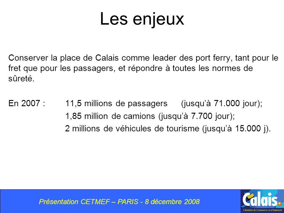 Les enjeux Conserver la place de Calais comme leader des port ferry, tant pour le fret que pour les passagers, et répondre à toutes les normes de sûreté.