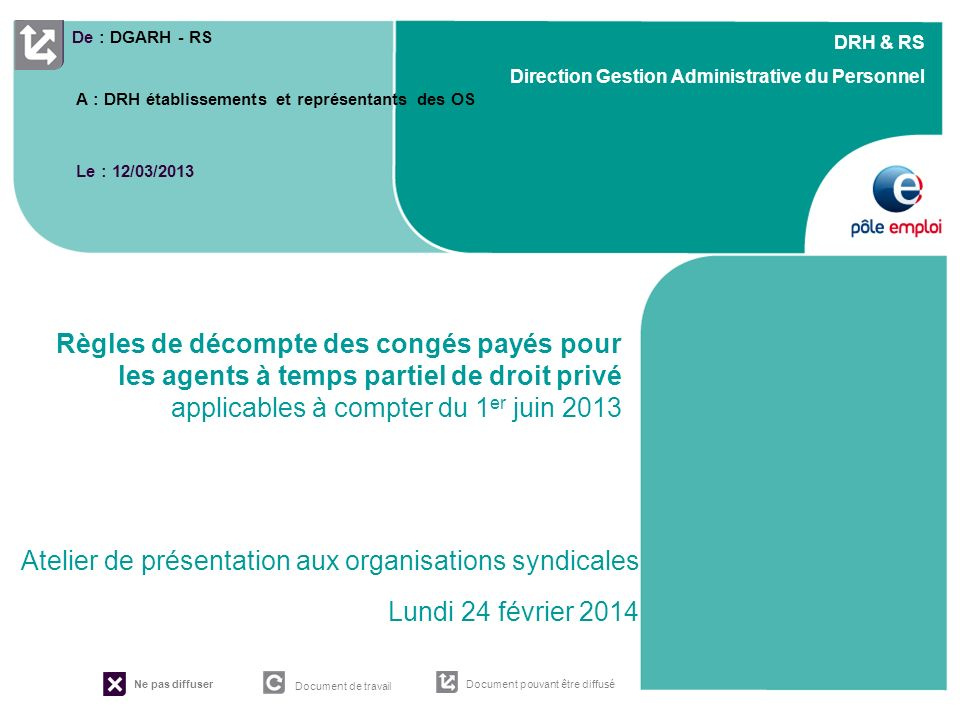 RESSOURCES HUMAINES Pôle emploi Rhône-Alpes – Département Structure – Titre de la présentation – Version « date » DRH & RS Direction Gestion Administr