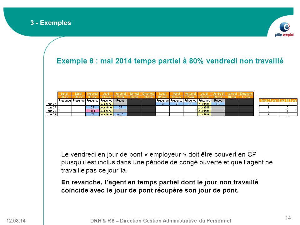 DRH & RS – Direction Gestion Administrative du Personnel 14 12.03.14 3 - Exemples Le vendredi en jour de pont « employeur » doit être couvert en CP pu