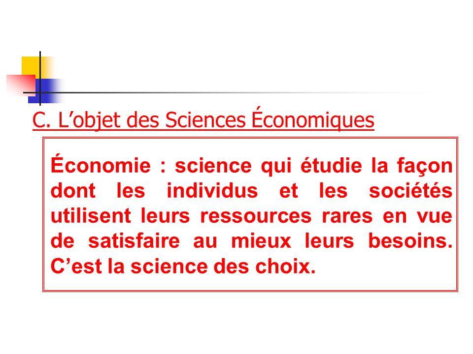 C. Lobjet des Sciences Économiques Économie : science qui étudie la façon dont les individus et les sociétés utilisent leurs ressources rares en vue d