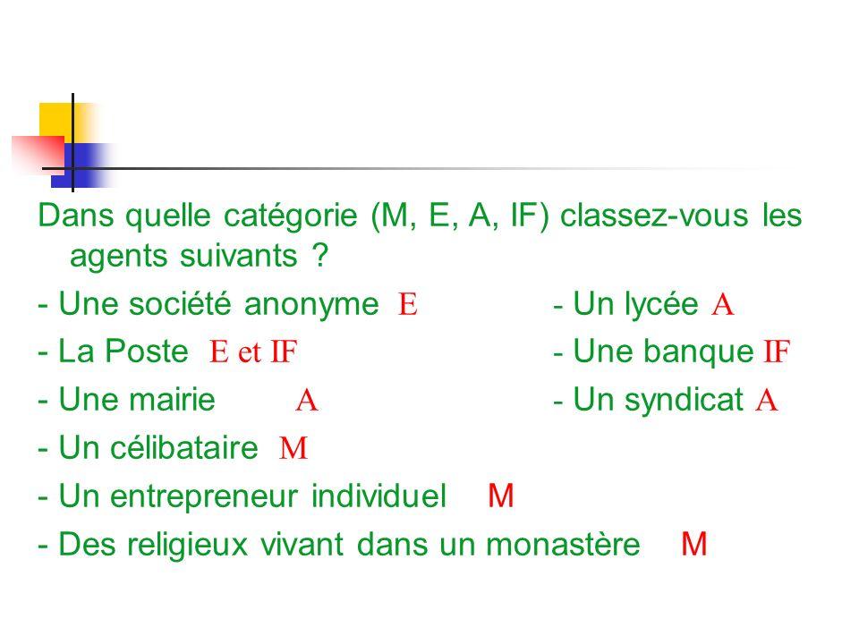 Dans quelle catégorie (M, E, A, IF) classez-vous les agents suivants ? - Une société anonyme E - Un lycée A - La Poste E et IF- Une banque IF - Une ma