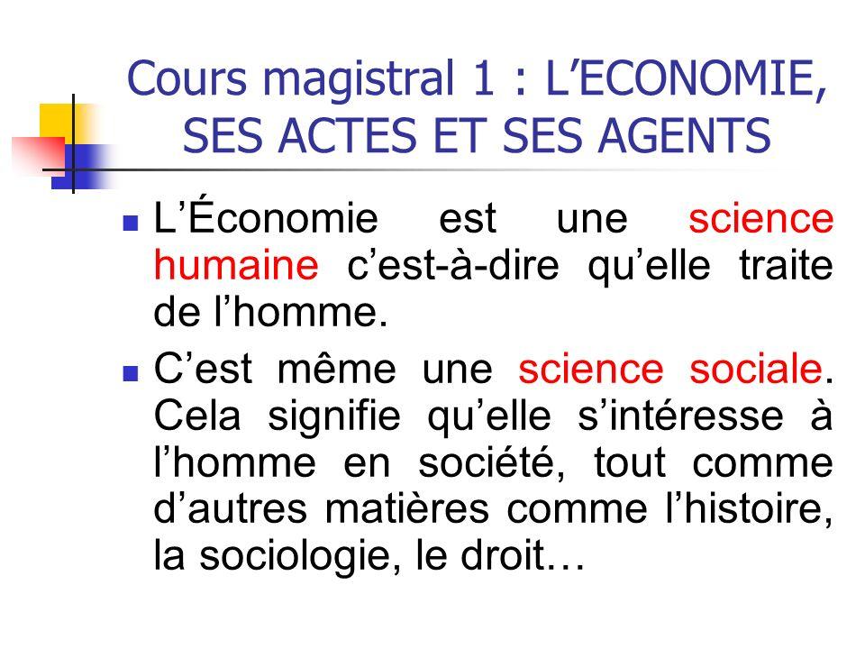 Plan 1ère partie : lobjet des sciences économiques 1ère partie : lobjet des sciences économiques (cest à dire de quoi elles traitent) 2ème partie : les agents et les actes économiques 2ème partie : les agents et les actes économiques 3ème partie : les agrégats économiques 3ème partie : les agrégats économiques (= les grandeurs économiques)