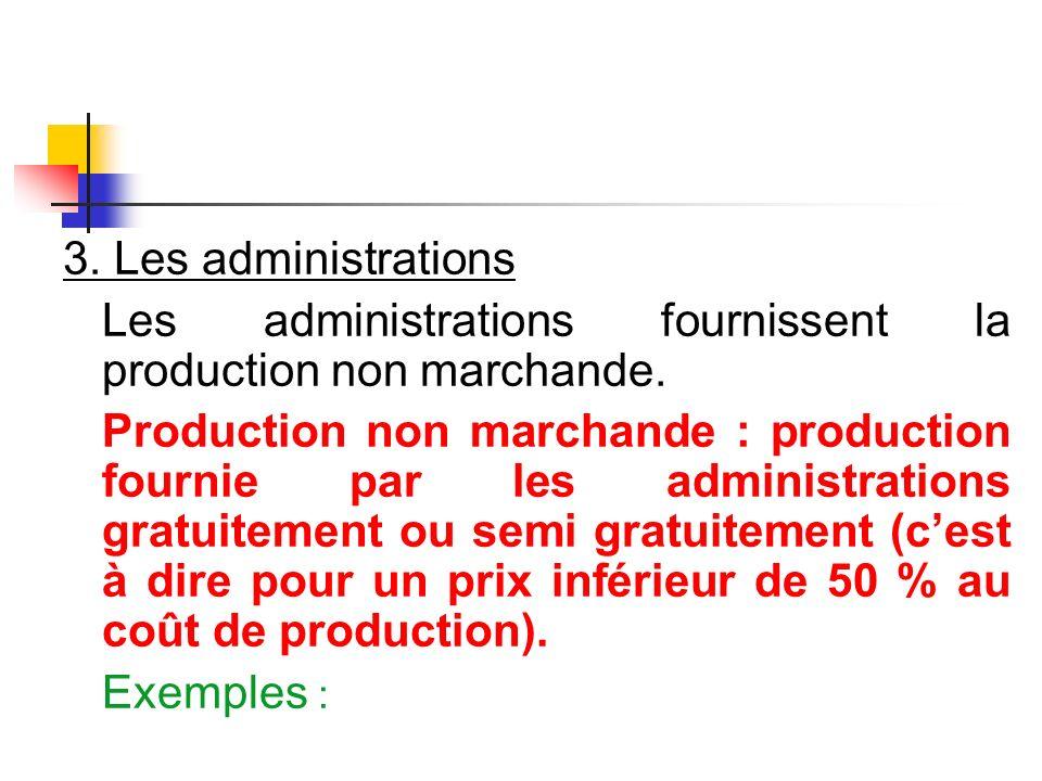 3. Les administrations Les administrations fournissent la production non marchande. Production non marchande : production fournie par les administrati