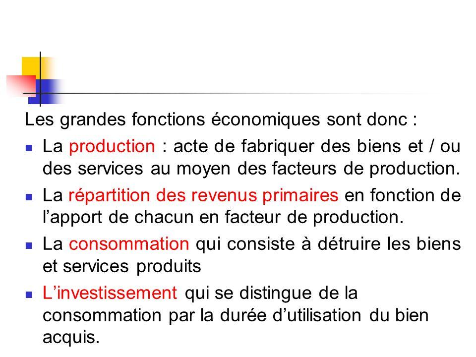 Les grandes fonctions économiques sont donc : La production : acte de fabriquer des biens et / ou des services au moyen des facteurs de production. La