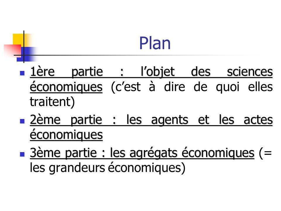 Plan 1ère partie : lobjet des sciences économiques 1ère partie : lobjet des sciences économiques (cest à dire de quoi elles traitent) 2ème partie : le