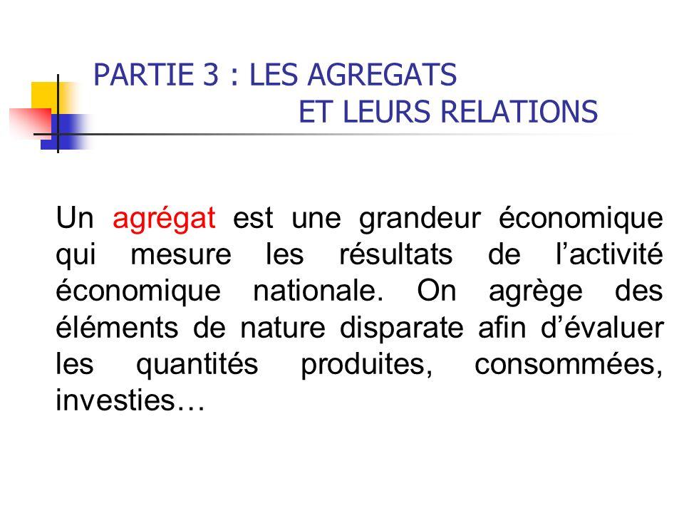 PARTIE 3 : LES AGREGATS ET LEURS RELATIONS Un agrégat est une grandeur économique qui mesure les résultats de lactivité économique nationale. On agrèg