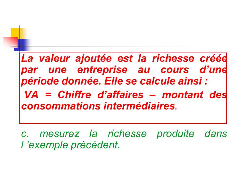 La valeur ajoutée est la richesse créée par une entreprise au cours dune période donnée. Elle se calcule ainsi : VA = Chiffre daffaires – montant des