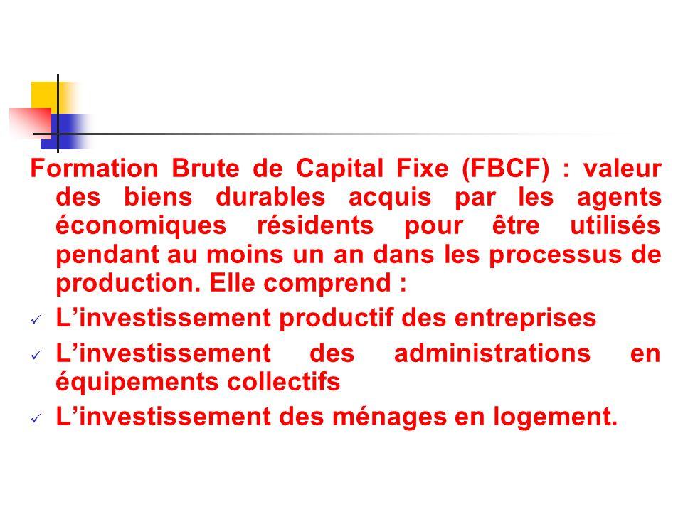 Formation Brute de Capital Fixe (FBCF) : valeur des biens durables acquis par les agents économiques résidents pour être utilisés pendant au moins un