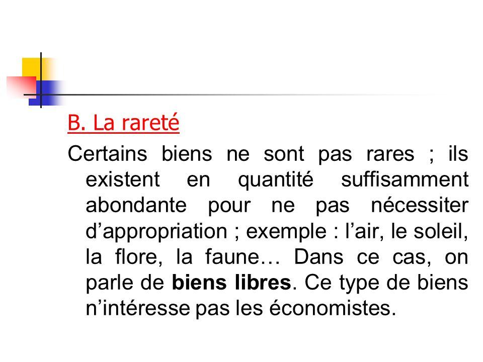 B. La rareté Certains biens ne sont pas rares ; ils existent en quantité suffisamment abondante pour ne pas nécessiter dappropriation ; exemple : lair