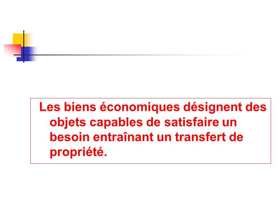 Les biens économiques désignent des objets capables de satisfaire un besoin entraînant un transfert de propriété.